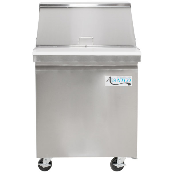 Avantco SS-PT-27M 27 inch 1 Door Mega Top Stainless Steel Refrigerated Sandwich Prep Table