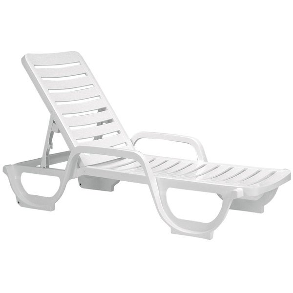 Grosfillex US031004 Bahia White Stacking Adjustable Resin Chaise - 2/Pack