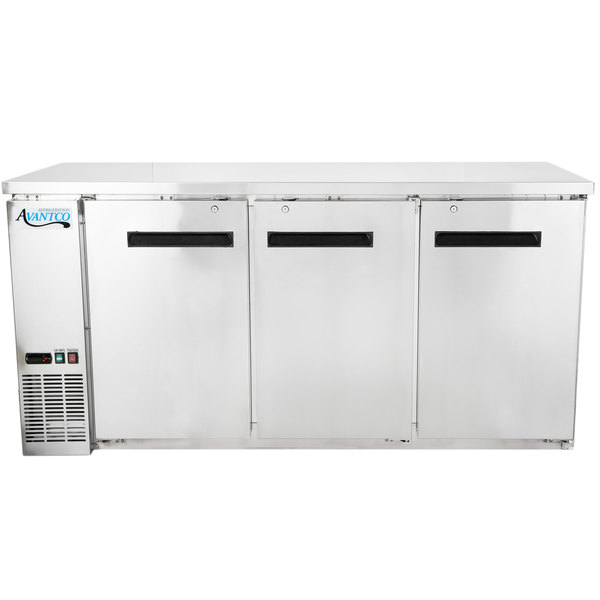 """Avantco UBB-72-HC-S 73"""" Stainless Steel Counter Height Narrow Solid Door Back Bar Refrigerator with LED Lighting"""