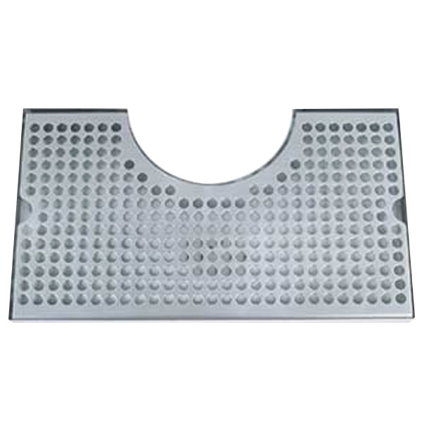 """Micro Matic DP-1020D 8"""" x 14"""" Stainless Steel Surface Mount Drip Tray with 4"""" Column Cutout and Drain"""