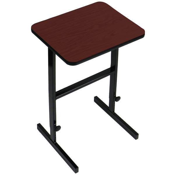 "Correll CST202421 20"" x 24"" Cherry High Pressure Laminate Top Adjustable Standing Height Work Station"