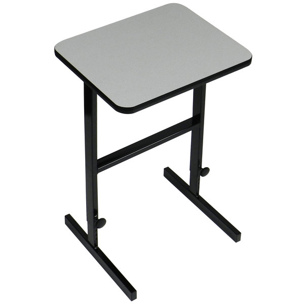 """Correll CST202415 20"""" x 24"""" Gray Granite High Pressure Laminate Top Adjustable Standing Height Work Station"""