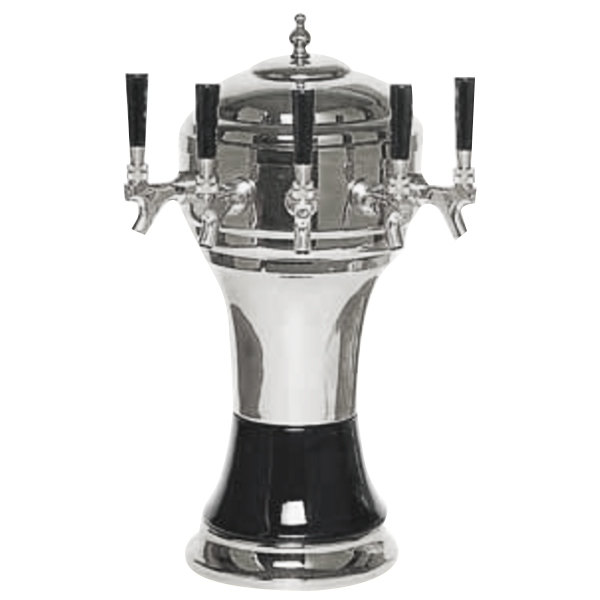 Micro Matic CT902-5CH Zeus Chrome Black Air Cooled 5 Tap Tower