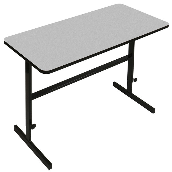 """Correll CST306015 30"""" x 60"""" Gray Granite High Pressure Laminate Top Adjustable Standing Height Work Station Main Image 1"""