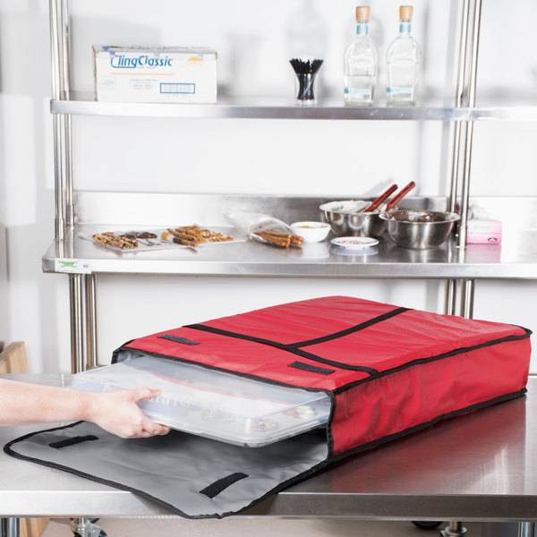 """Intedge Insulated Delivery Bag, Full Size Bun / Sheet Pan Carrier, Red Vinyl, 18"""" x 26"""" x 5"""" Main Image 8"""