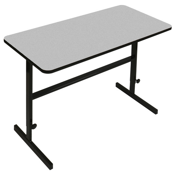"""Correll CST244815 24"""" x 48"""" Gray Granite High Pressure Laminate Top Adjustable Standing Height Work Station"""