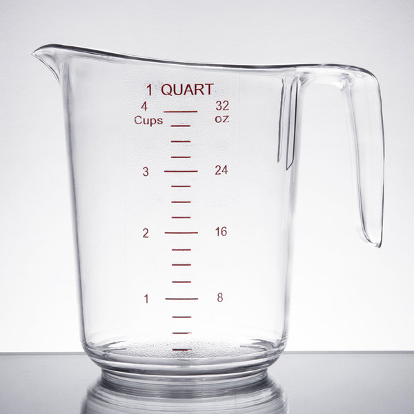 Choice 1 Qt. Clear Plastic Measuring Cup with Gradations