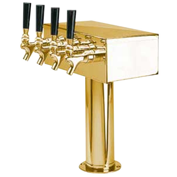 """Micro Matic D7744PVDKR PVD Brass Kool-Rite Glycol Cooled 4 Tap """"T"""" Style Tower - 3"""" Column"""