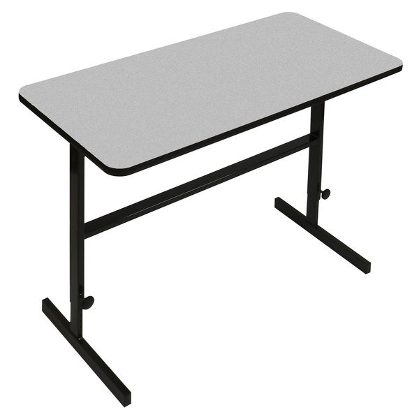 """Correll CST243615 24"""" x 36"""" Gray Granite High Pressure Laminate Top Adjustable Standing Height Work Station Main Image 1"""