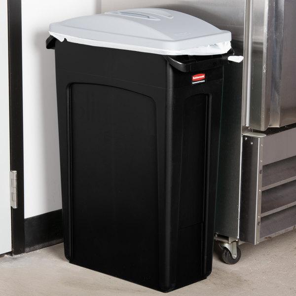 Rubbermaid Slim Jim 23 Gallon Black Trash Can with Light Gray Handled Lid