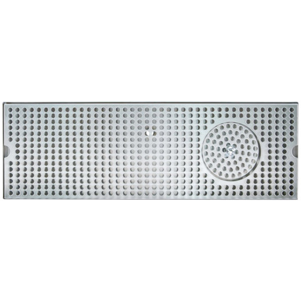 """Micro Matic DP-120D-20GR 5"""" x 20"""" Stainless Steel Surface Mount Drip Tray with Glass Rinser"""
