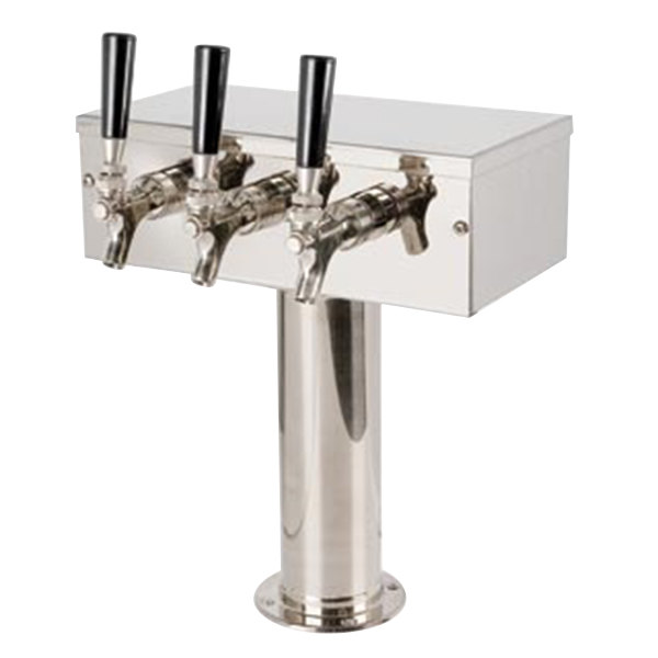 """Micro Matic D7743PSSKR Stainless Steel Kool-Rite Glycol Cooled 3 Tap """"T"""" Style Tower - 3"""" Column Main Image 1"""