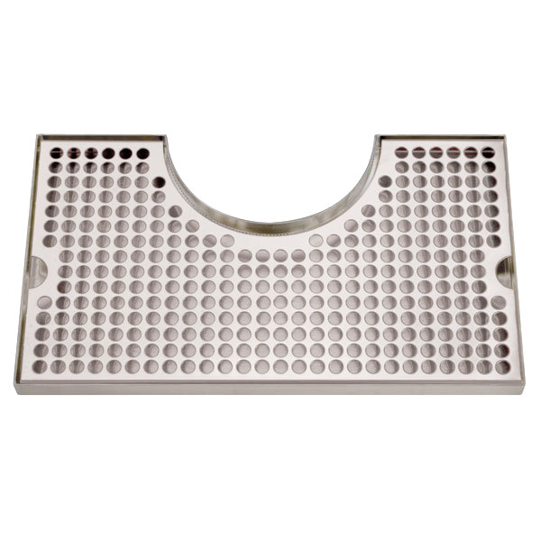 """Micro Matic DP-1020 8"""" x 14"""" Stainless Steel Surface Mount Drip Tray with 4"""" Column Cutout"""
