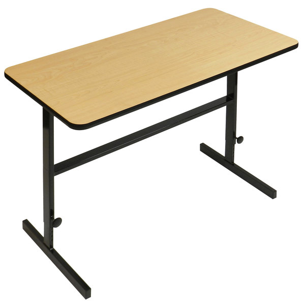 """Correll CST306016 30"""" x 60"""" Fusion Maple High Pressure Laminate Top Adjustable Standing Height Work Station"""