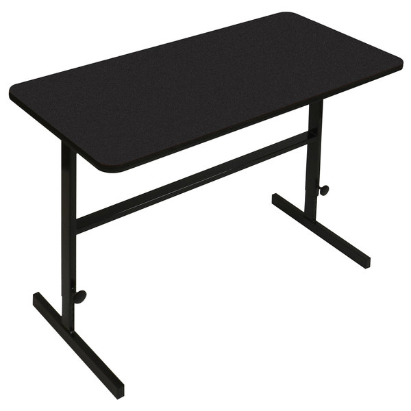 "Correll CST244807 24"" x 48"" Black Granite High Pressure Laminate Top Adjustable Standing Height Work Station"
