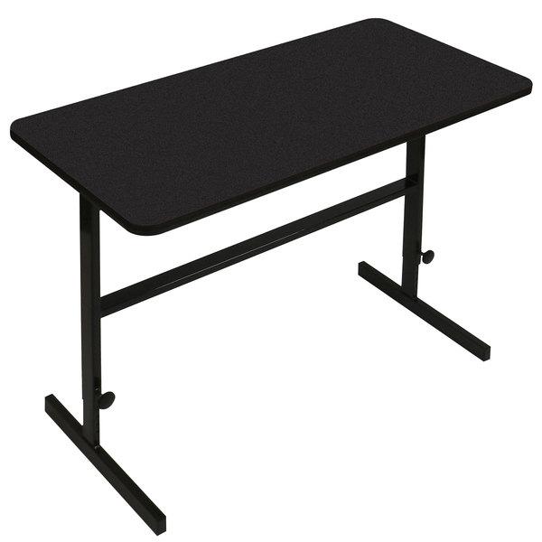"Correll CST306007 30"" x 60"" Black Granite High Pressure Laminate Top Adjustable Standing Height Work Station"