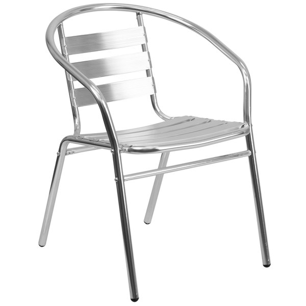Flash Furniture TLH-017B-GG Aluminum Stacking Outdoor Restaurant Chair with Triple Slat Back