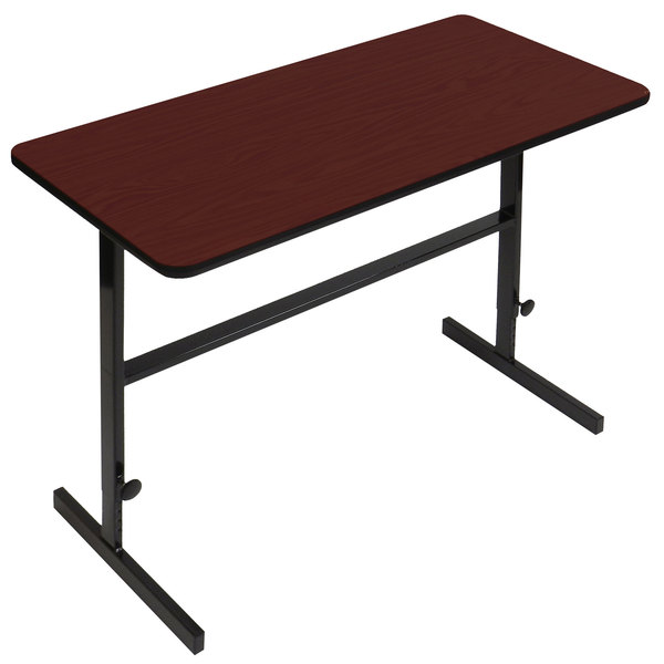"Correll CST306021 30"" x 60"" Cherry High Pressure Laminate Top Adjustable Standing Height Work Station"
