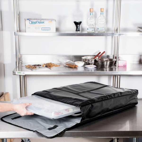 "Insulated Delivery Bag, Full Size Bun / Sheet Pan Carrier, Black Vinyl, 18"" x 26"" x 5"""