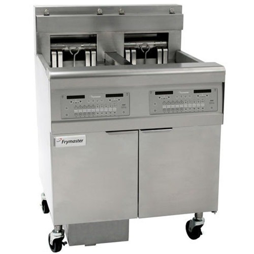 Frymaster FPEL314-2LCA Electric Floor Fryer with Two Full Right Frypots / One Left Split Pot and Automatic Top Off - 240V, 3 Phase, 14 kW