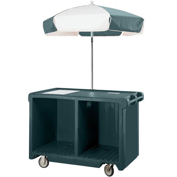 Cambro CVC55192 Camcruiser Granite Green Vending Cart with Umbrella, 1 Counter Well, and 2 Storage Compartments Main Image 1