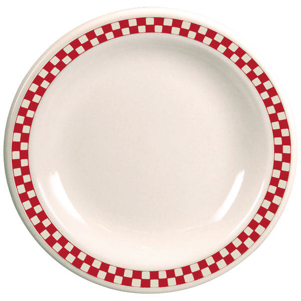 "Homer Laughlin 2125413 Scarlet Checkers 6 1/2"" Ivory (American White) Narrow Rim Plate - 36/Case"