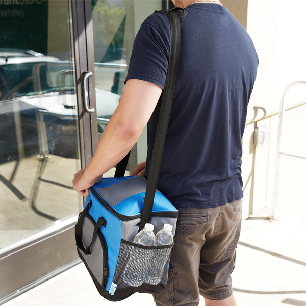 """Choice Insulated Leak Proof Cooler Bag / Soft Cooler, Blue 12"""" x 9"""" x 11 1/2"""" 24 Can, with Microcore Thermal Hot or Cold Pack Kit Main Image 9"""