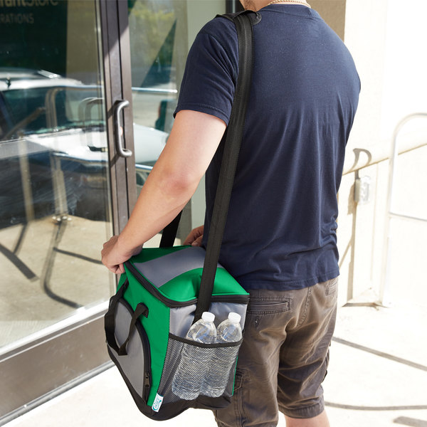 """Choice Insulated Leak Proof Cooler Bag / Soft Cooler, Green 12"""" x 9"""" x 11 1/2"""" 24 Can, with Microcore Thermal Hot or Cold Pack Kit"""