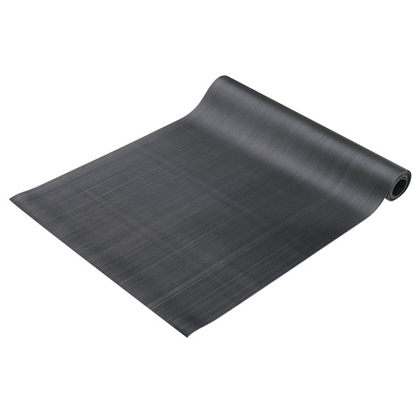 """Cactus Mat 1000R-C6 Deep Groove 6' Wide Corrugated Black Rubber Runner Mat - 1/8"""" Thick"""