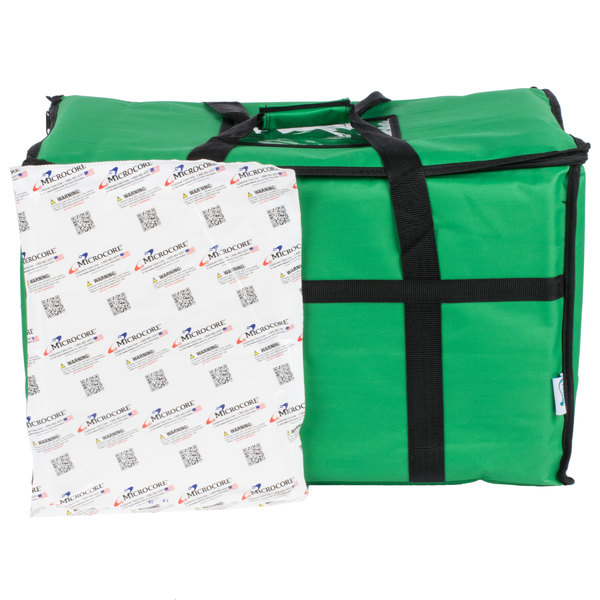 Choice Insulated Food Delivery Bag / Pan Carrier with Microcore Thermal Hot or Cold Pack Kit, Green Nylon, 23 inch x 13 inch x 15 inch
