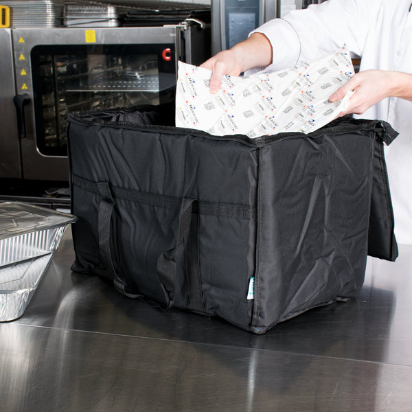 "Choice Insulated Food Delivery Bag / Pan Carrier with Microcore Thermal Hot or Cold Pack Kit, Black Nylon, 23"" x 13"" x 15"" Main Image 9"
