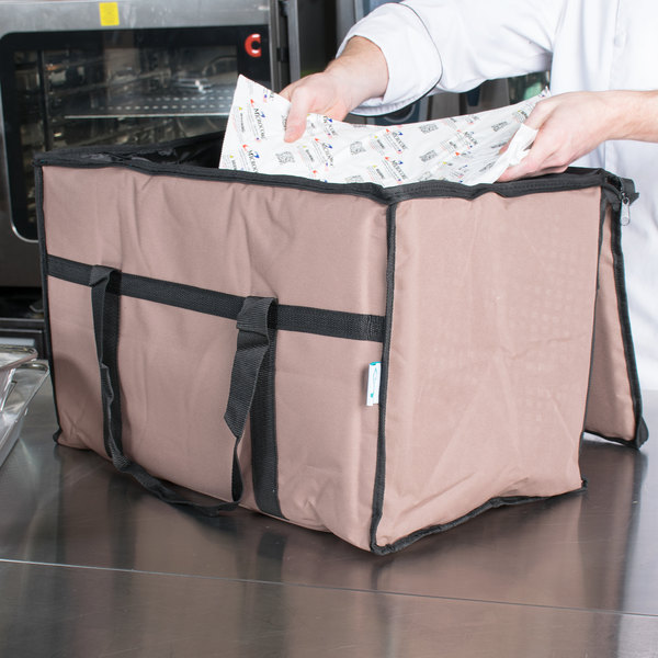 """Choice Insulated Food Delivery Bag / Pan Carrier with Microcore Thermal Hot or Cold Pack Kit, Brown Nylon, 23"""" x 13"""" x 15"""""""