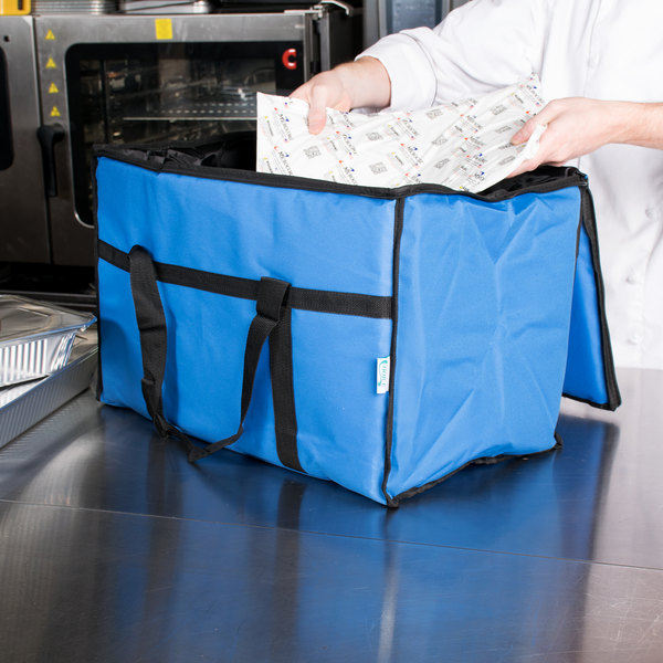"Choice Insulated Food Delivery Bag / Pan Carrier with Microcore Thermal Hot or Cold Pack Kit, Blue Nylon, 23"" x 13"" x 15"""
