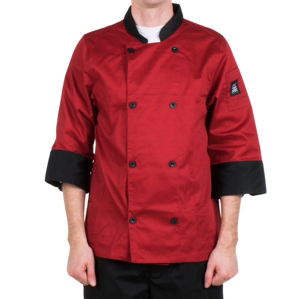 Chef Revival Bronze J134TM-XL Cool Crew Fresh Size 48 (XL) Tomato Red Customizable Chef Jacket with 3/4 Sleeves - Poly-Cotton