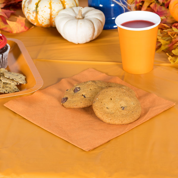 Pumpkin Spice Orange Paper Dinner Napkin, 3-Ply - Creative Converting 323383 - 25/Pack