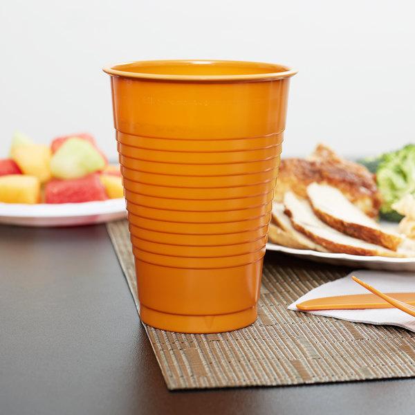Creative Converting 323391 12 oz. Pumpkin Spice Orange Plastic Cup - 20/Pack