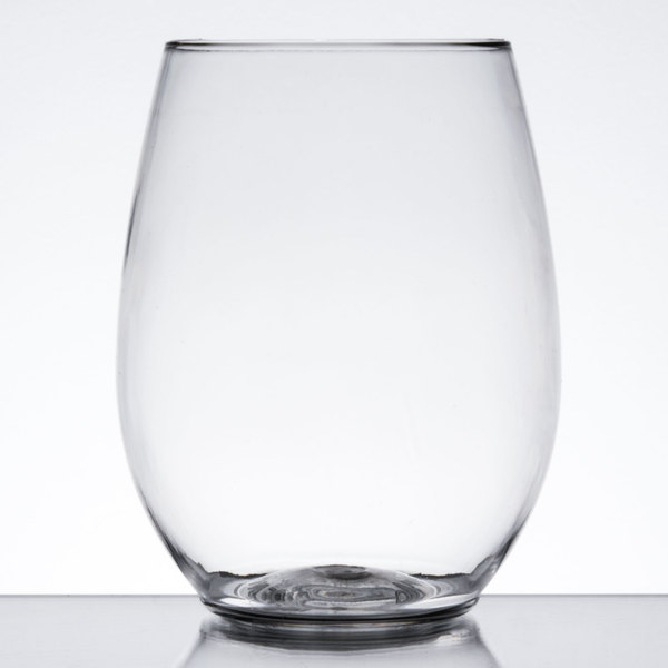 visions 12 oz clear plastic stemless wine glass 64 case