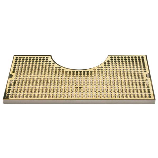 "Micro Matic BVL-120LDSSPVD Zeus 10"" x 19 3/4"" PVD Brass Surface Mount Drip Tray with 8 3/8"" x 3 1/2"" Column Cutout"