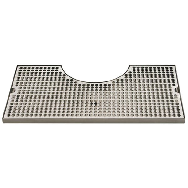 """Micro Matic BVL-120LDCH Zeus 10"""" x 19 3/4"""" Stainless Steel Surface Mount Drip Tray with 8 3/8"""" x 3 1/2"""" Column Cutout"""