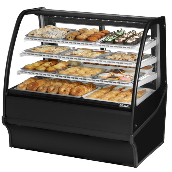 True TDM-DC-48-GE/GE 48 inch Black Curved Glass Dry Bakery Display Case