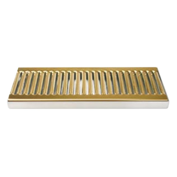 """Micro Matic DP-120DSSPVD 5"""" x 12"""" PVD Brass Surface Mount Drip Tray with Drain Main Image 1"""