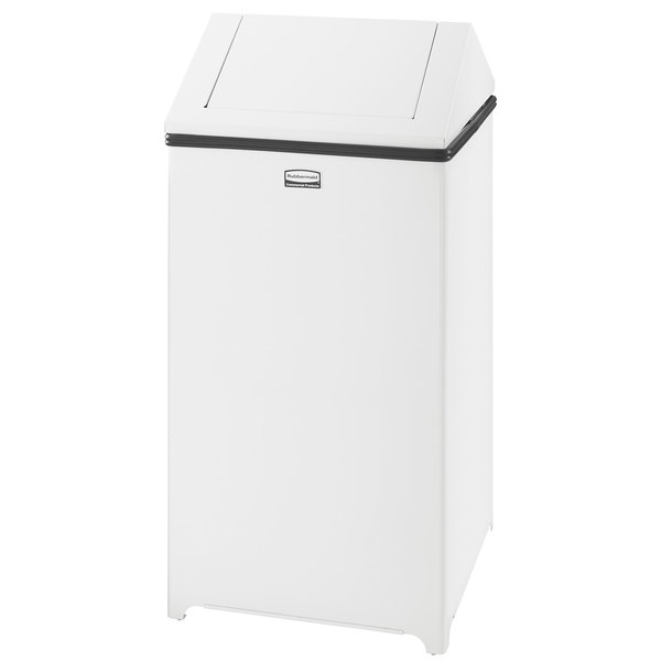 Rubbermaid FGT1940EPLWH Wastemaster White Stainless Steel Swing Top 29 Gallon Trash Can
