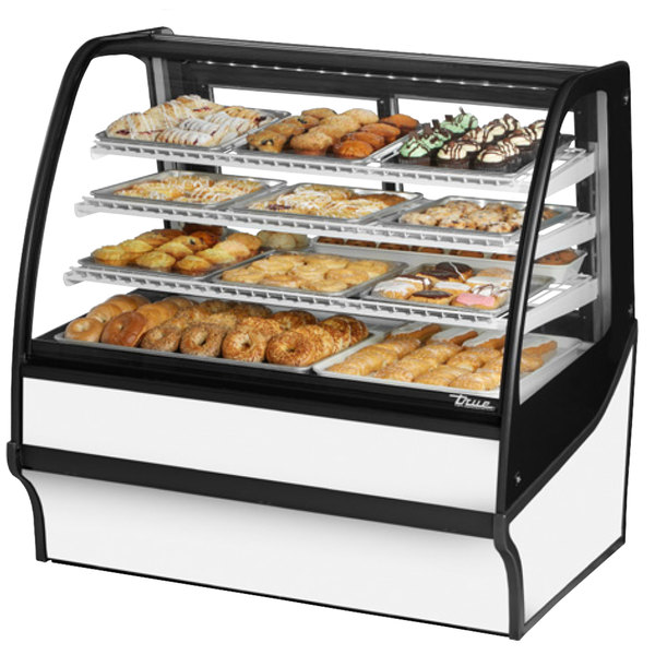 True TDM-DC-48-GE/GE 48 inch White Curved Glass Dry Bakery Display Case