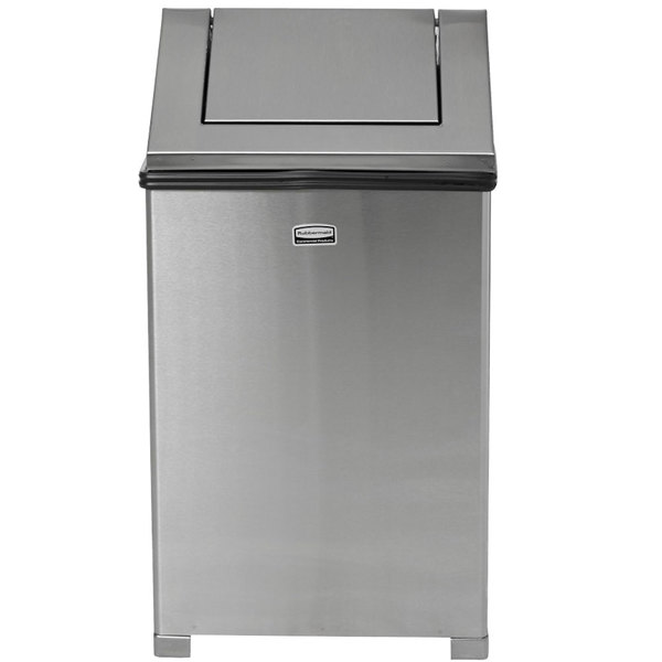 Rubbermaid FGT1414SSPL Wastemaster Stainless Steel Swing Top 10.5 Gallon Trash Can