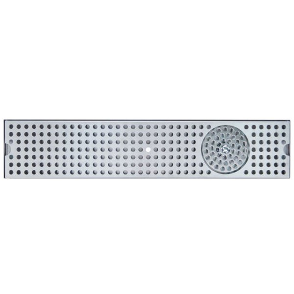 """Micro Matic DP-120D-36GR 5"""" x 36"""" Stainless Steel Surface Mount Drip Tray with Glass Rinser"""