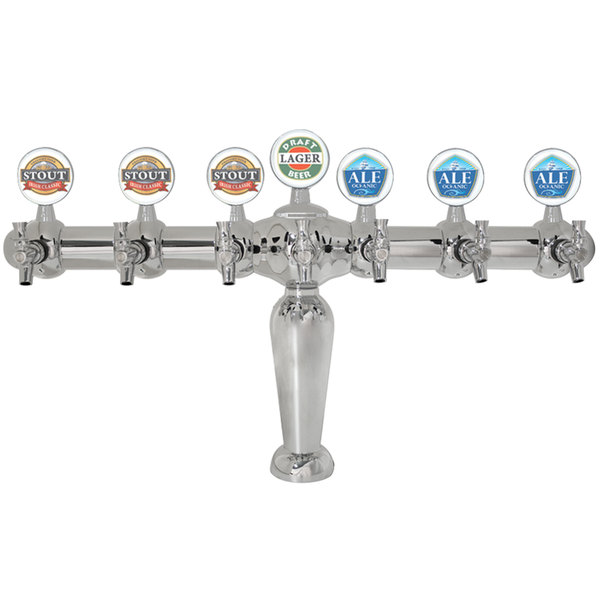 Micro Matic BRIG-C-7-M Brigitte Chrome Glycol Cooled 7 Tap Tower with Medallions