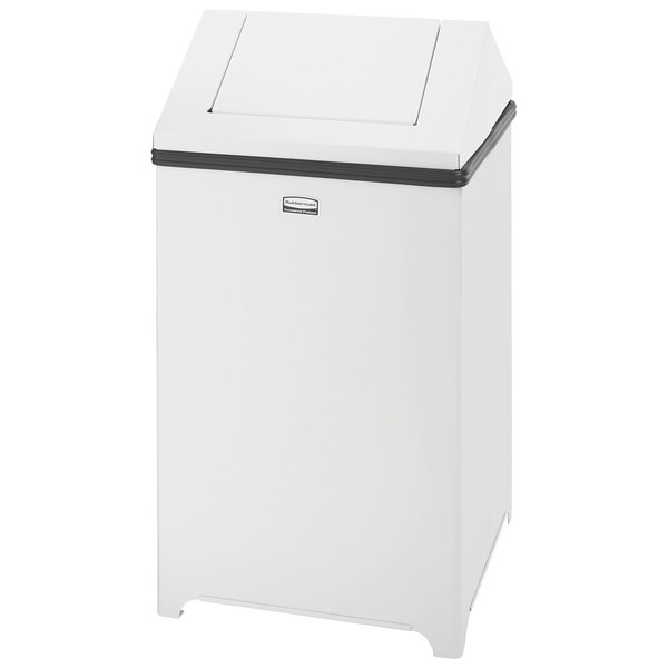 Rubbermaid FGT1414EPLWH Wastemaster White Stainless Steel Swing Top 10.5 Gallon Trash Can
