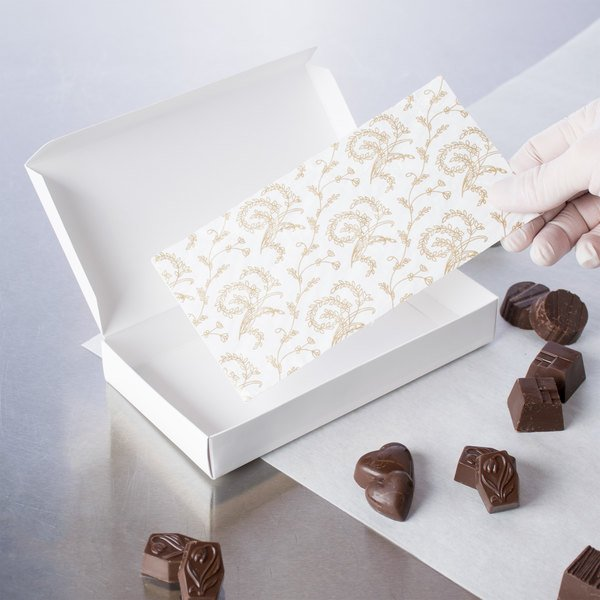 """7 3/8"""" x 3 7/8"""" White 1/2 lb. 3-Ply Glassine Candy Box Pad with Ivory Pattern - 25/Pack"""