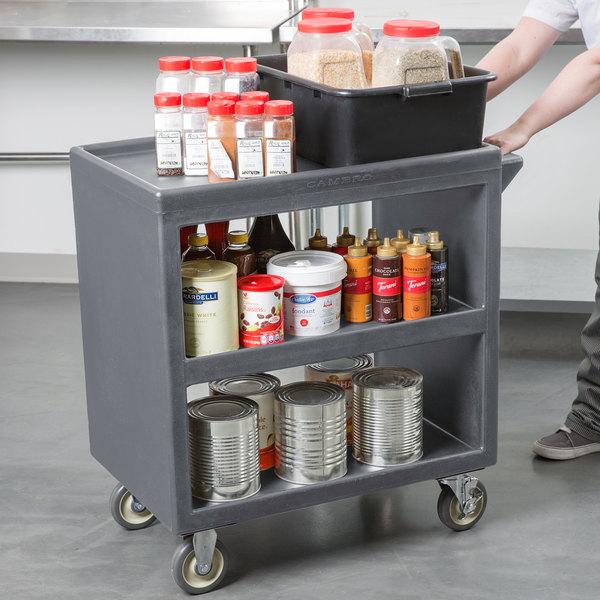 "Cambro BC230191 Granite Gray Three Shelf Service Cart - 33 1/4"" x 20"" x 34 5/8"" Main Image 3"