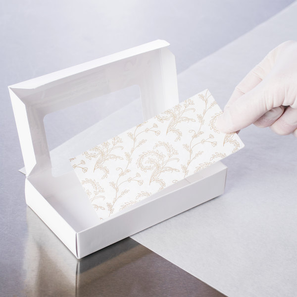 """5 3/8"""" x 2 5/8"""" 3-Ply Glassine 1/2 lb. White Candy Box Pad with Gold Floral Pattern - 25/Pack"""